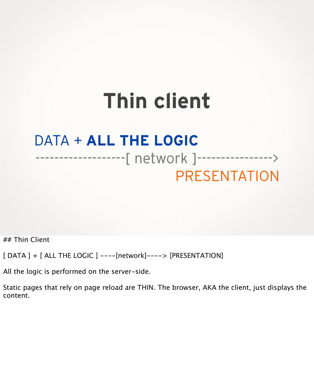 Thin client DATA + ALL THE LOGIC --------------...
