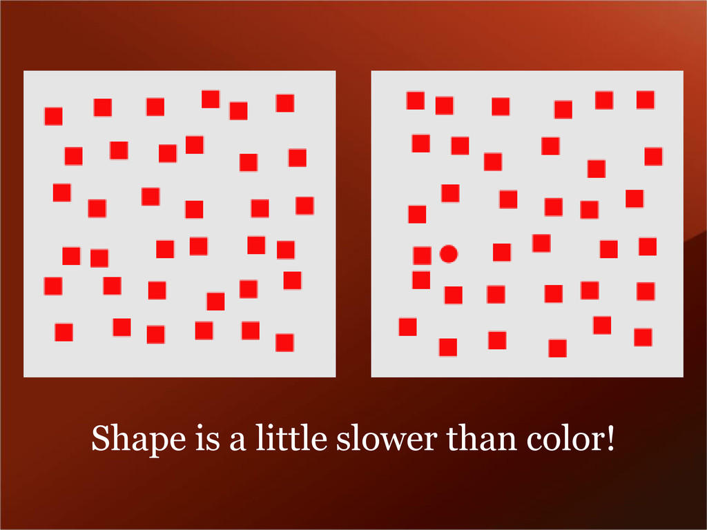 Shape is a little slower than color!
