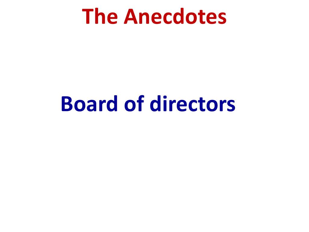 Board of directors The Anecdotes