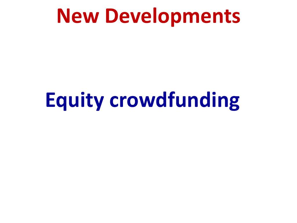 New Developments Equity crowdfunding