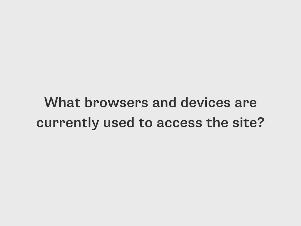 What browsers and devices are currently used to...