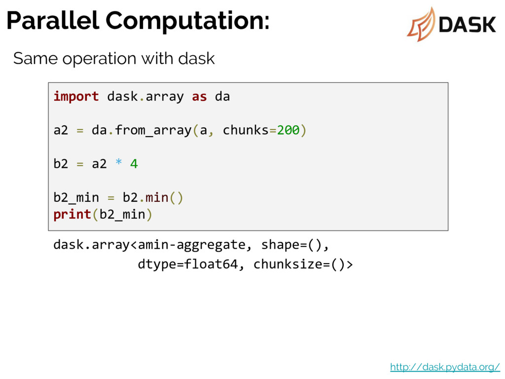 Parallel Computation: http://dask.pydata.org/ i...