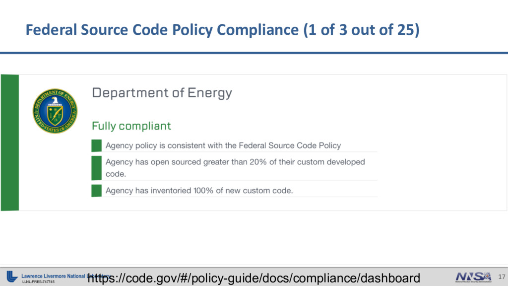 LLNL-PRES-747745 17 Federal Source Code Policy ...