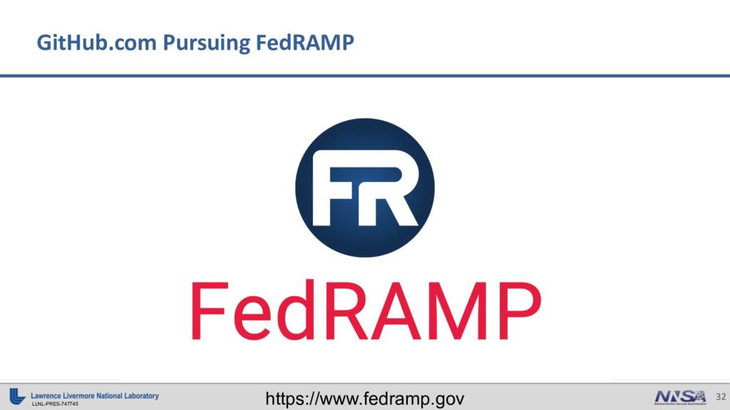 LLNL-PRES-747745 32 GitHub.com Pursuing FedRAMP...