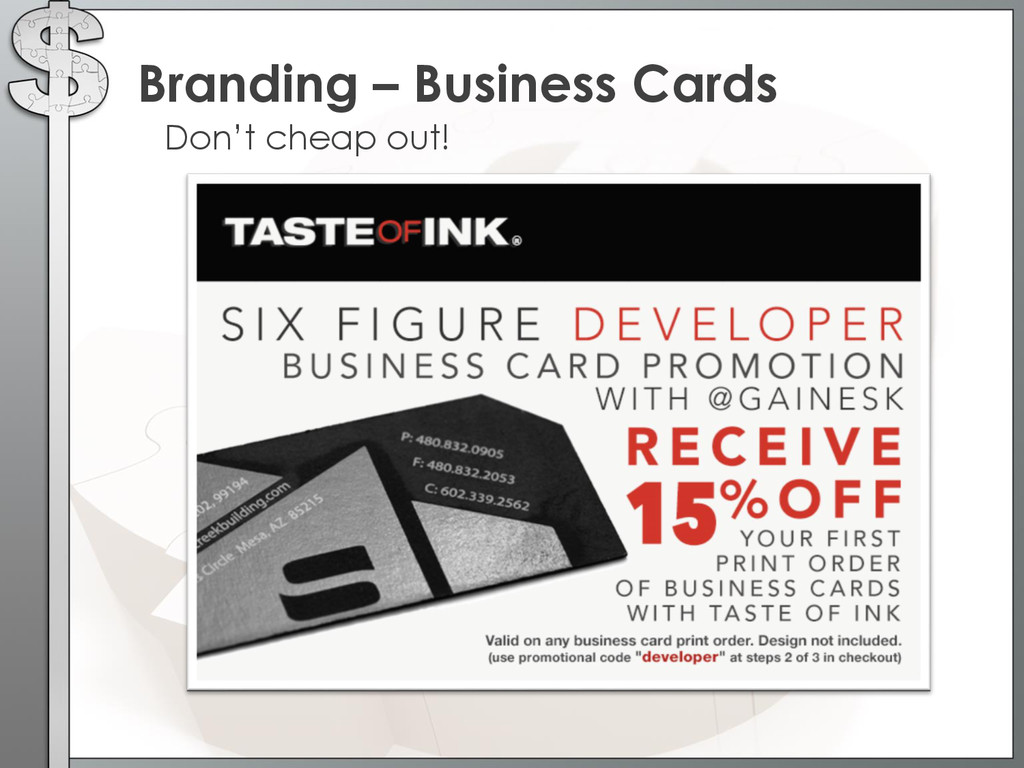 Don't cheap out! Branding – Business Cards