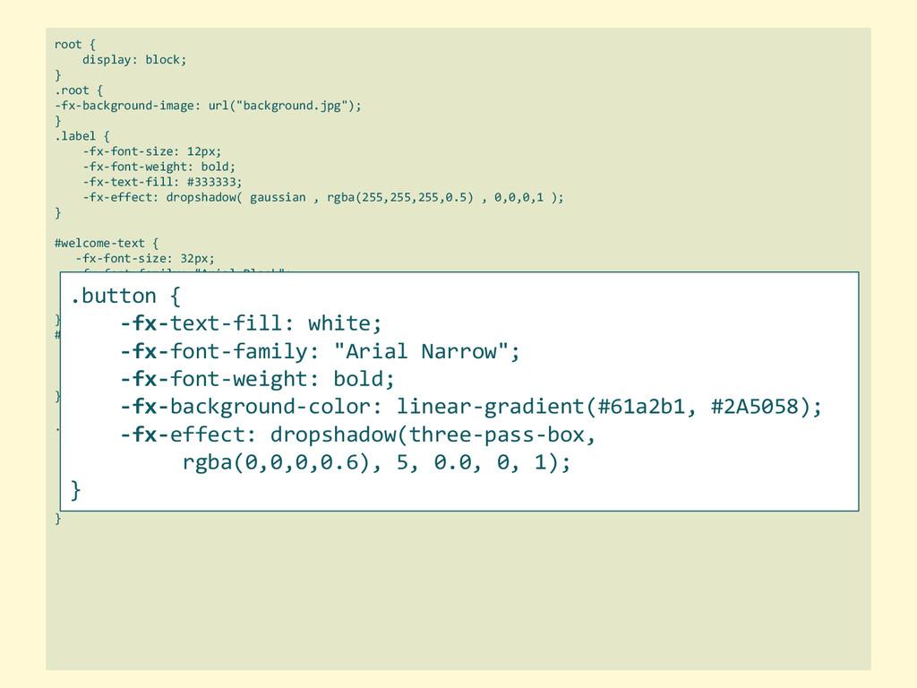 root { display: block; } .root { -fx-background...
