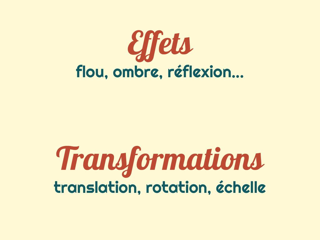 Effets flou, ombre, réflexion... Transformation...