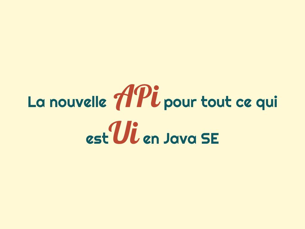 La nouvelle APi pour tout ce qui est Ui en Java...