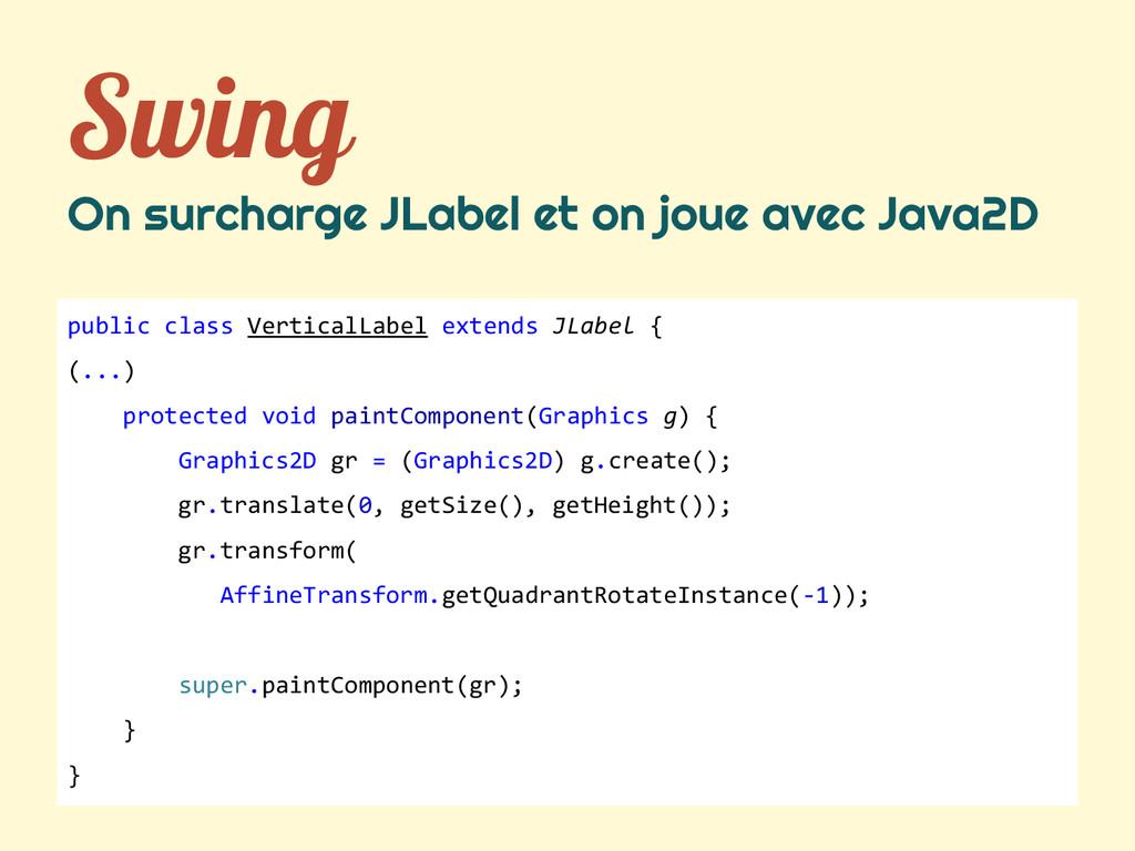 Swing On surcharge JLabel et on joue avec Java2...