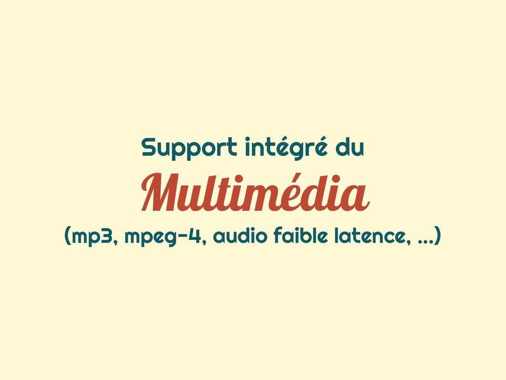 Support intégré du Multimédia (mp3, mpeg-4, aud...