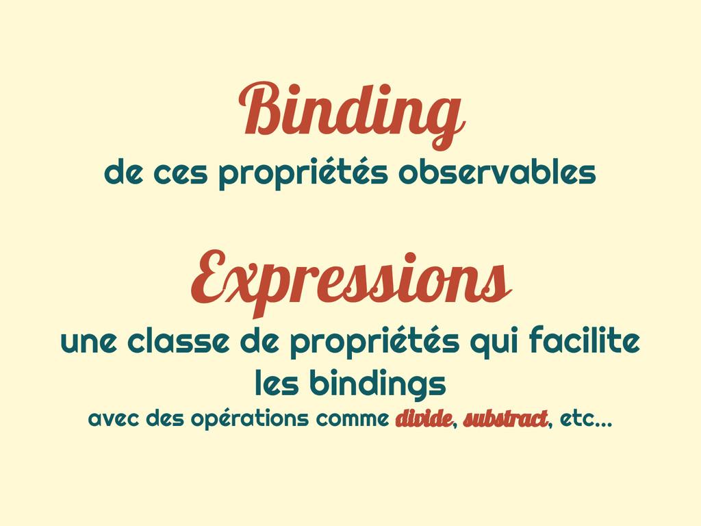 Binding de ces propriétés observables Expressio...
