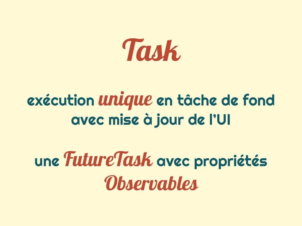 Task exécution unique en tâche de fond avec mis...