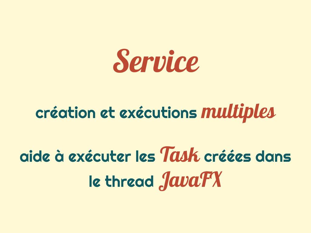 Service création et exécutions multiples aide à...