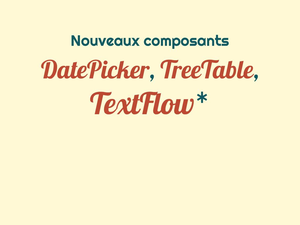 Nouveaux composants DatePicker, TreeTable, Text...