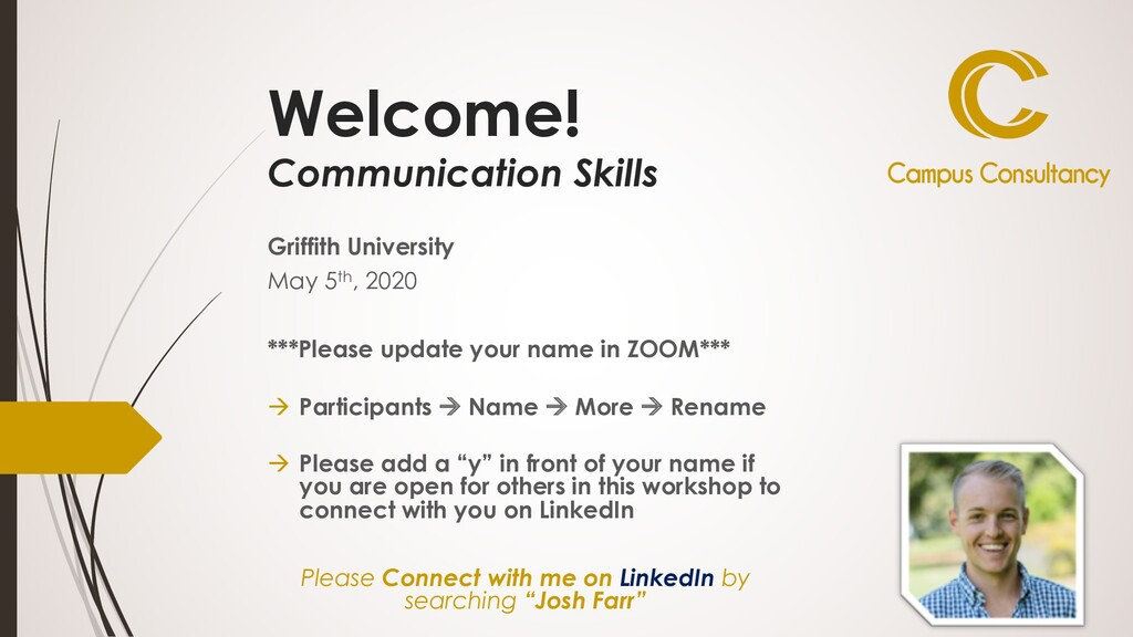 Welcome! Communication Skills Griffith Universi...