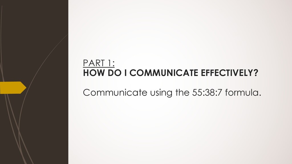 PART 1: HOW DO I COMMUNICATE EFFECTIVELY? Commu...