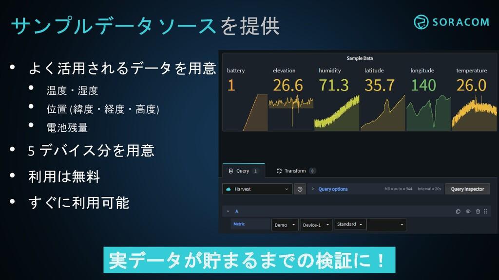 サンプルデータソースを提供 • よく活用されるデータを用意 • 温度・湿度 • 位置 (緯度・...