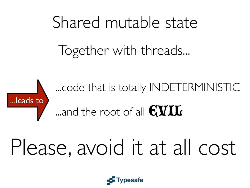 Shared mutable state ...code that is totally IN...
