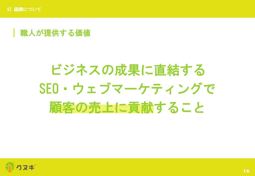 職人が提供する価値 16 02 組織について ビジネスの成果に直結する SEO・ウェブマーケテ...