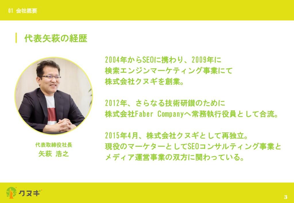 代表矢萩の経歴 3 01 会社概要 代表取締役社長 矢萩 浩之 2004年からSEOに携わり、...