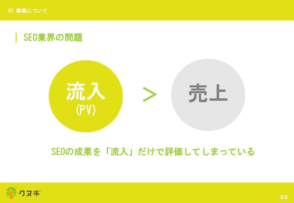 SEO業界の問題 23 03 事業について 流入 (PV) > 売上 SEOの成果を「流入」だ...