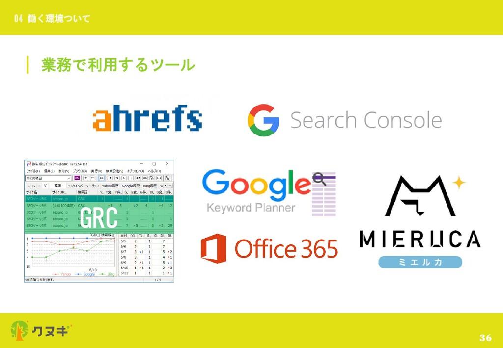 業務で利用するツール 36 04 働く環境ついて GRC
