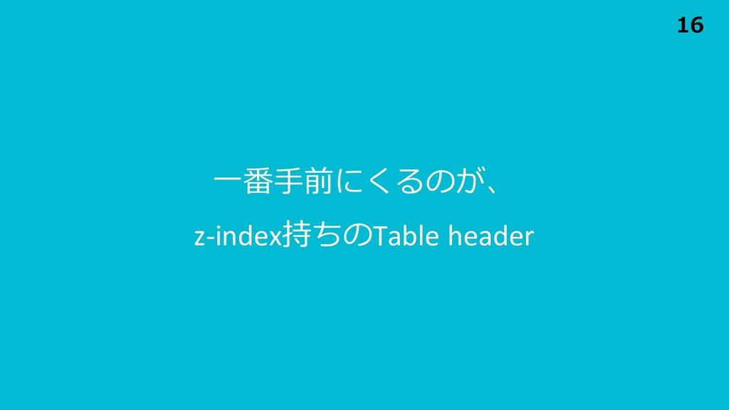 ⼀番⼿前にくるのが、 z-index持ちのTable header 16