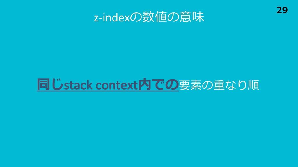 z-indexの数値の意味 同じstack context内での要素の重なり順 29