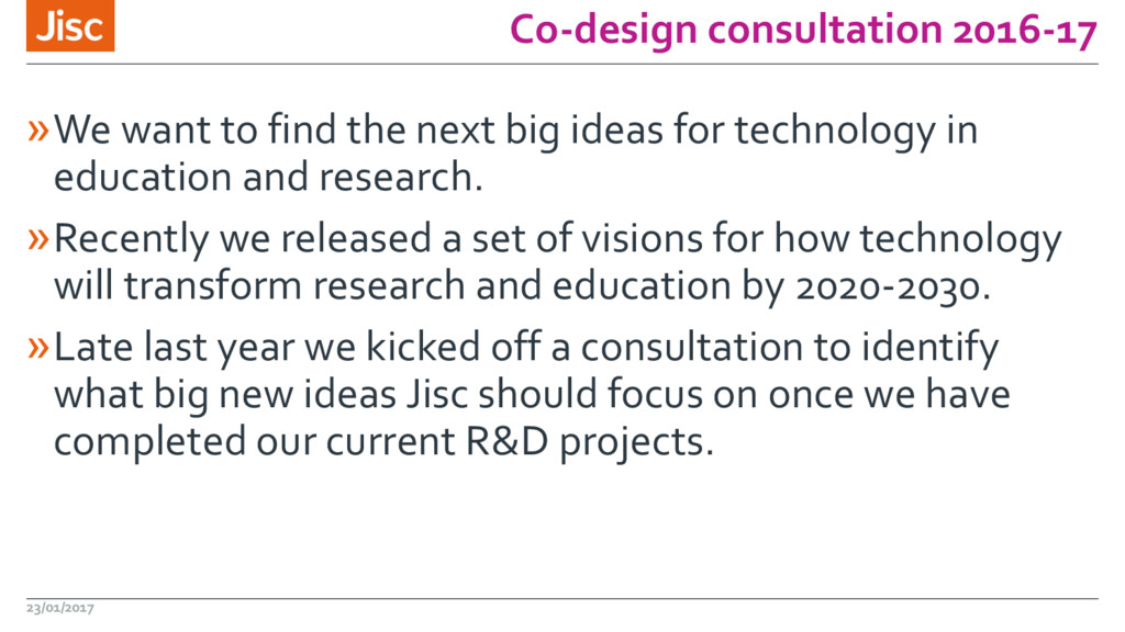 Co-design consultation 2016-17 »We want to find...