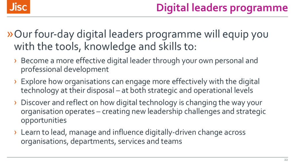 Digital leaders programme »Our four-day digital...