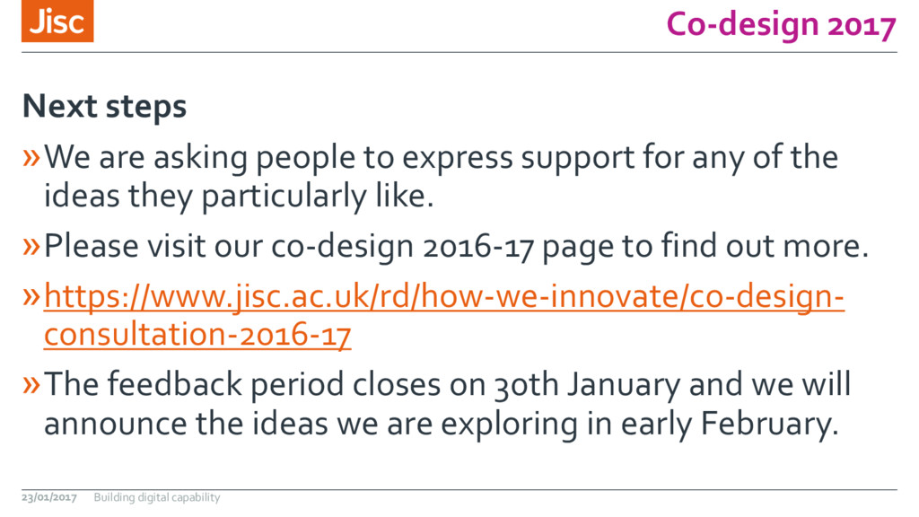 Co-design 2017 »We are asking people to express...