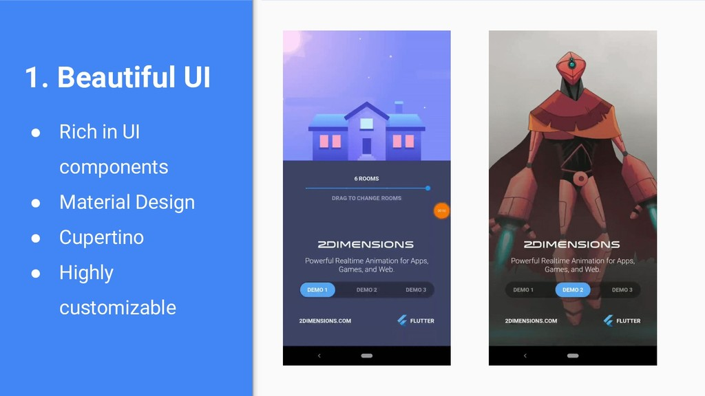 1. Beautiful UI ● Rich in UI components ● Mater...