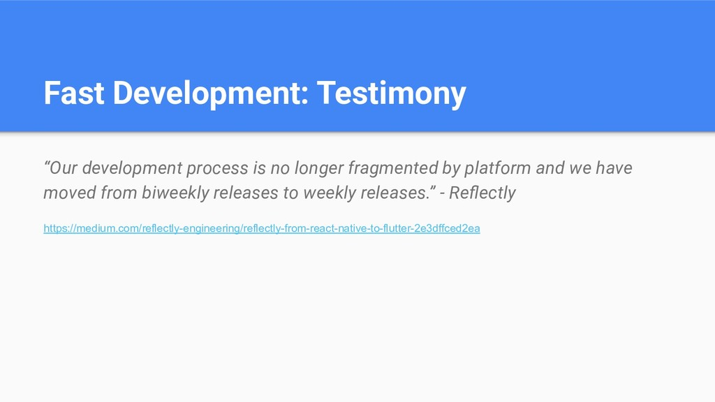 "Fast Development: Testimony ""Our development pr..."