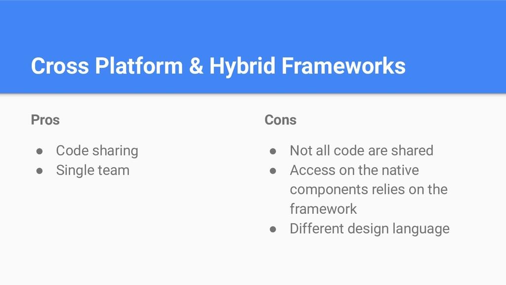 Cross Platform & Hybrid Frameworks Pros ● Code ...