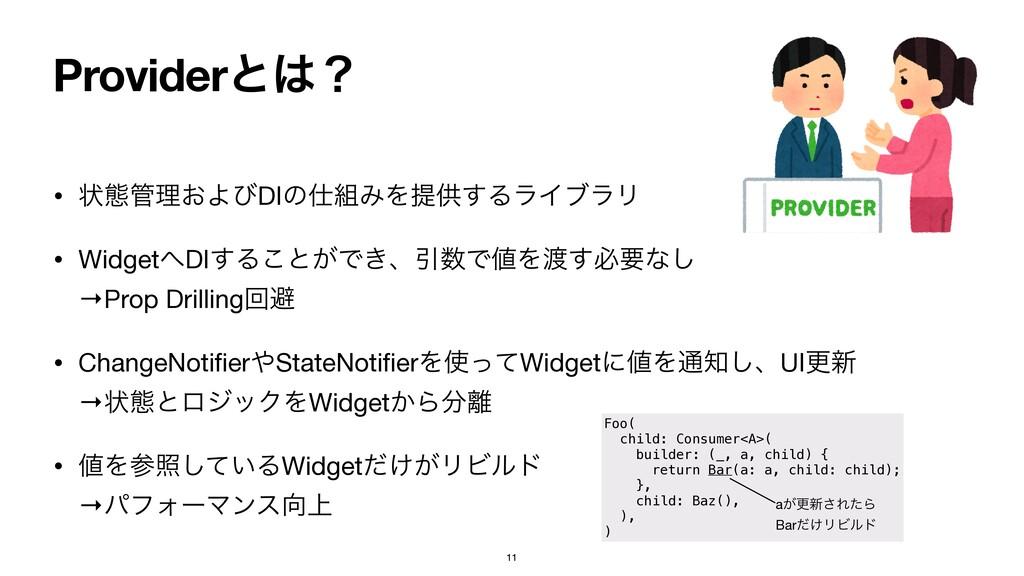 Providerͱʁ • ঢ়ଶཧ͓ΑͼDIͷΈΛఏڙ͢ΔϥΠϒϥϦ  • Widget...