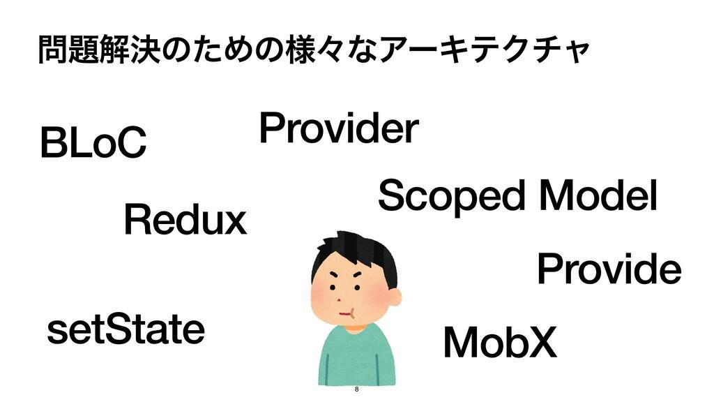 ղܾͷͨΊͷ༷ʑͳΞʔΩςΫνϟ BLoC Redux Provider Provide ...