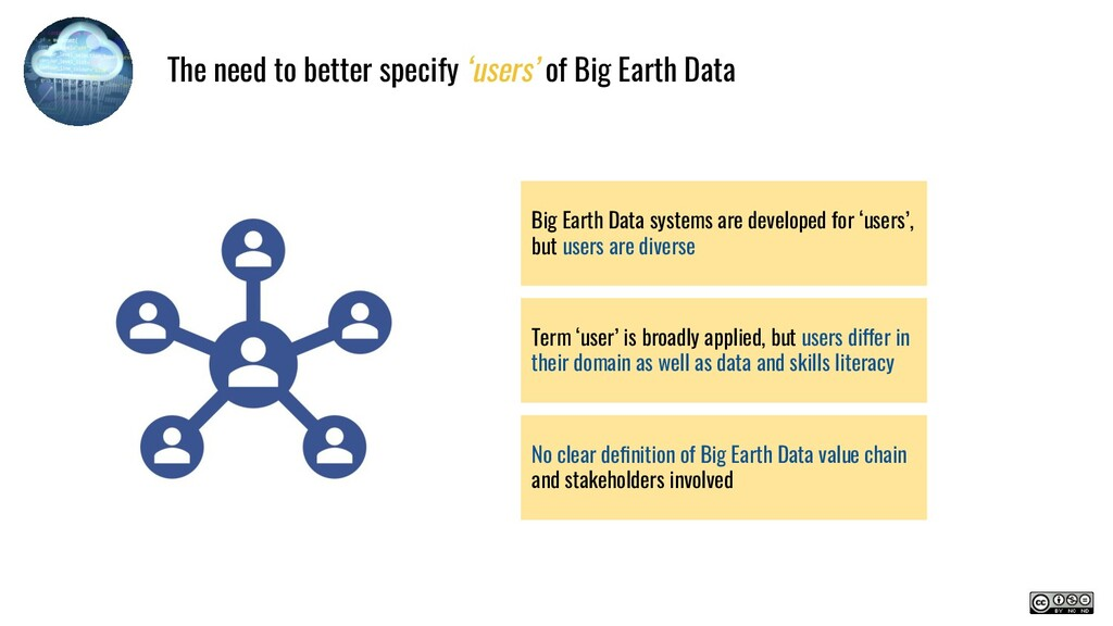 Big Earth Data systems are developed for 'users...