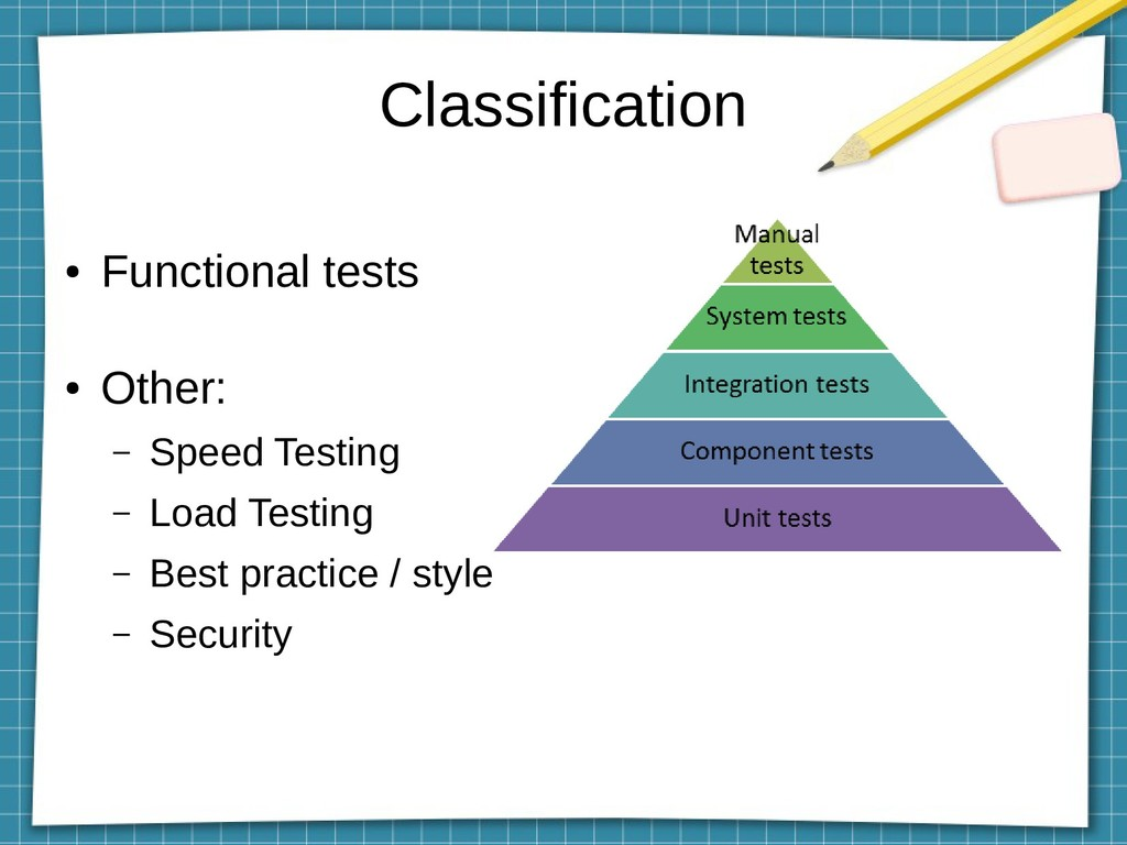 Classification ● Functional tests ● Other: – Sp...