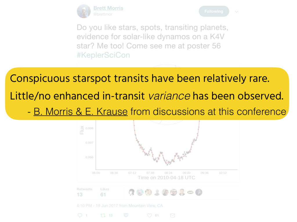 Conspicuous starspot transits have been relativ...