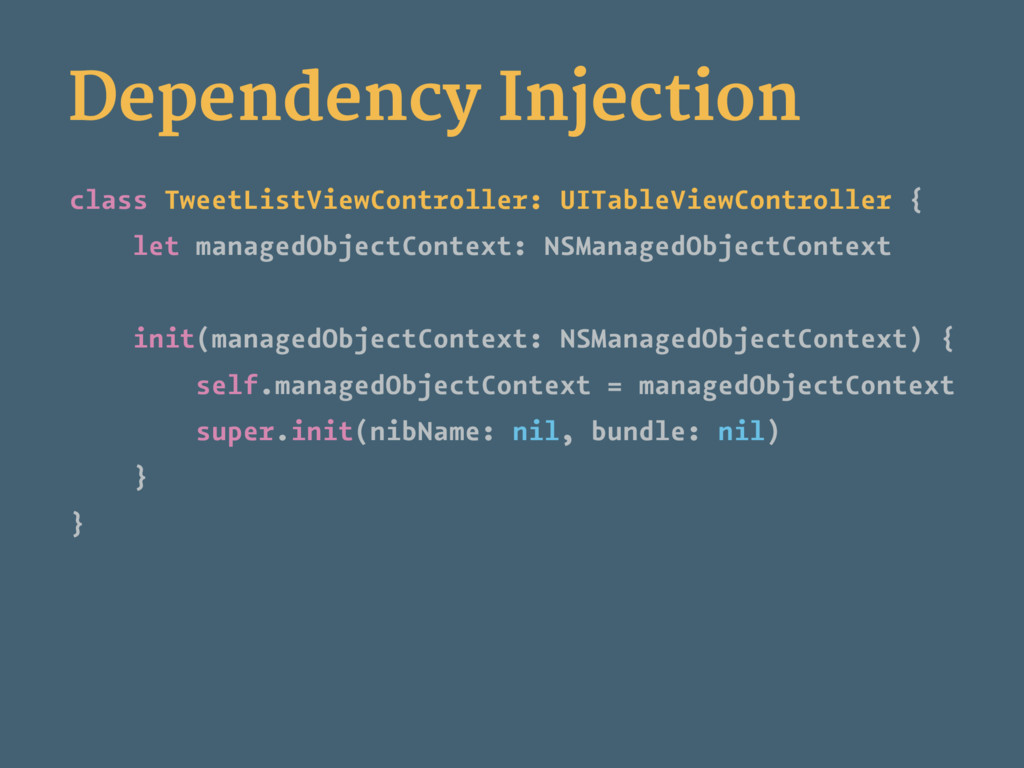 Dependency Injection class TweetListViewControl...