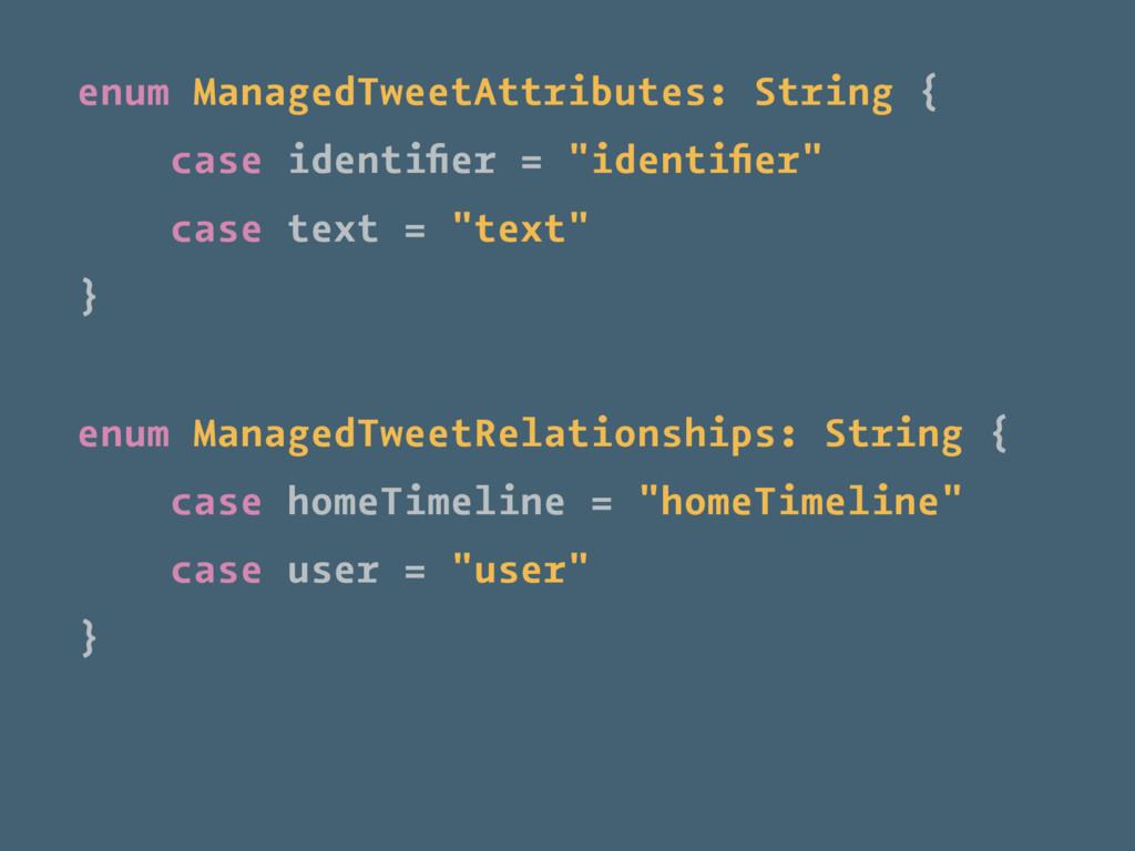 enum ManagedTweetAttributes: String { case iden...