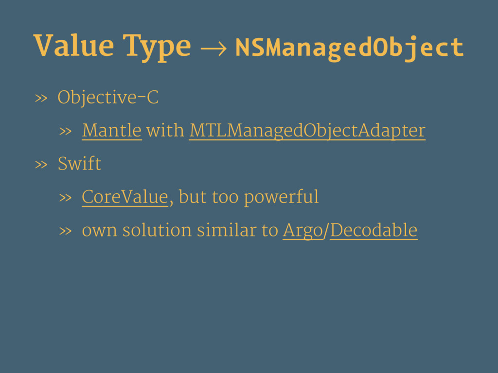Value Type → NSManagedObject » Objective-C » Ma...