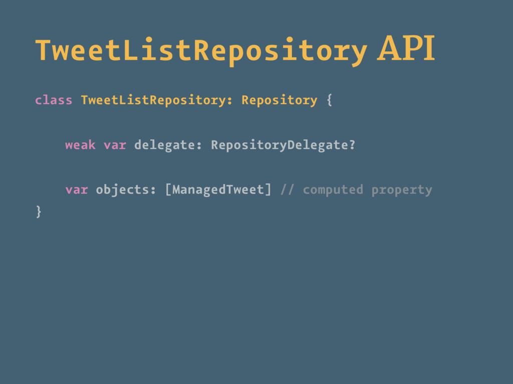 TweetListRepository API class TweetListReposito...