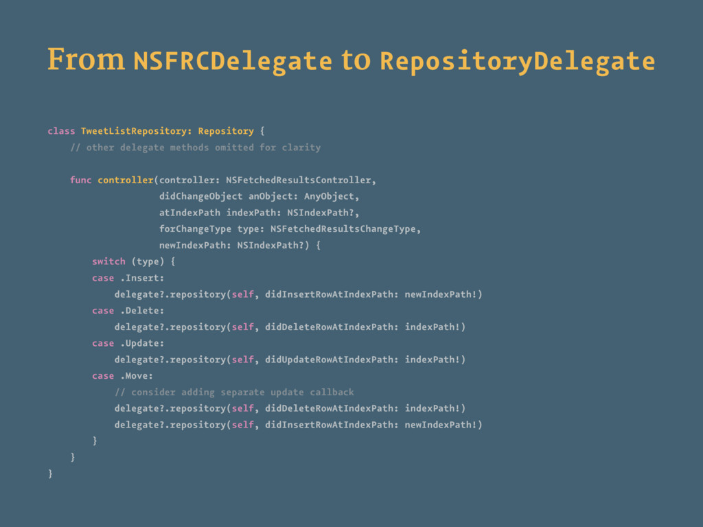 From NSFRCDelegate to RepositoryDelegate class ...