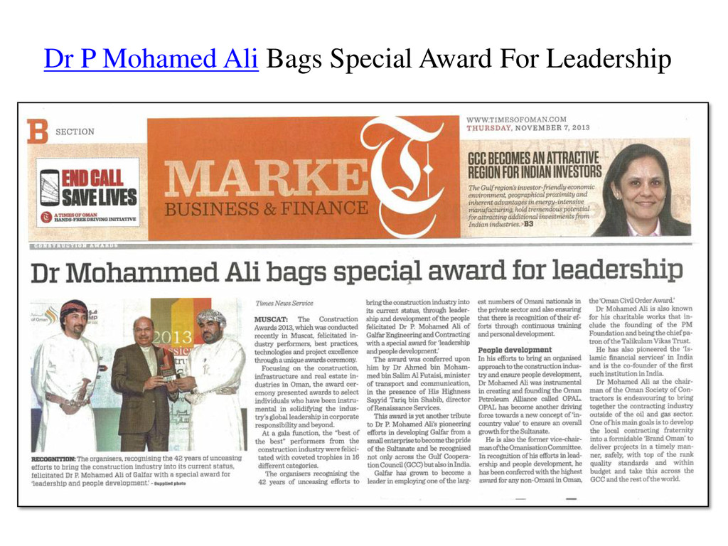 Dr P Mohamed Ali Bags Special Award For Leaders...