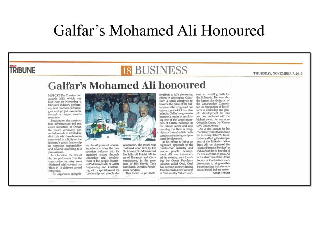 Galfar's Mohamed Ali Honoured