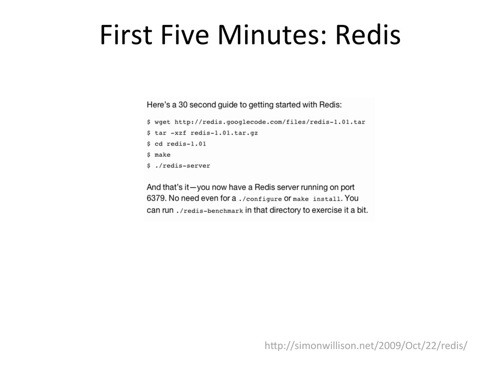 First Five Minutes: Redis  hWp://si...