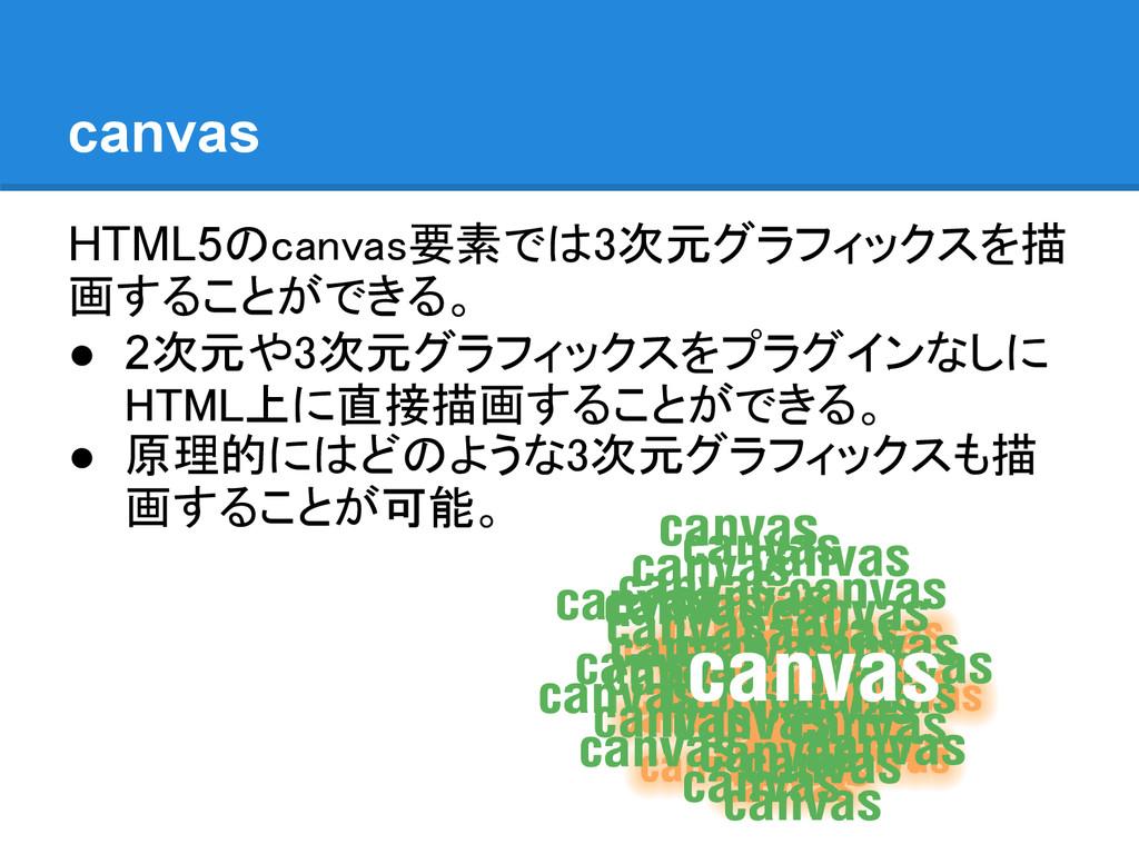 canvas HTML5のcanvas要素では3次元グラフィックスを描 画することができる。 ...