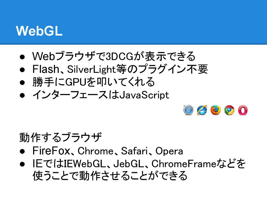 WebGL ● Webブラウザで3DCGが表示できる ● Flash、SilverLight等...
