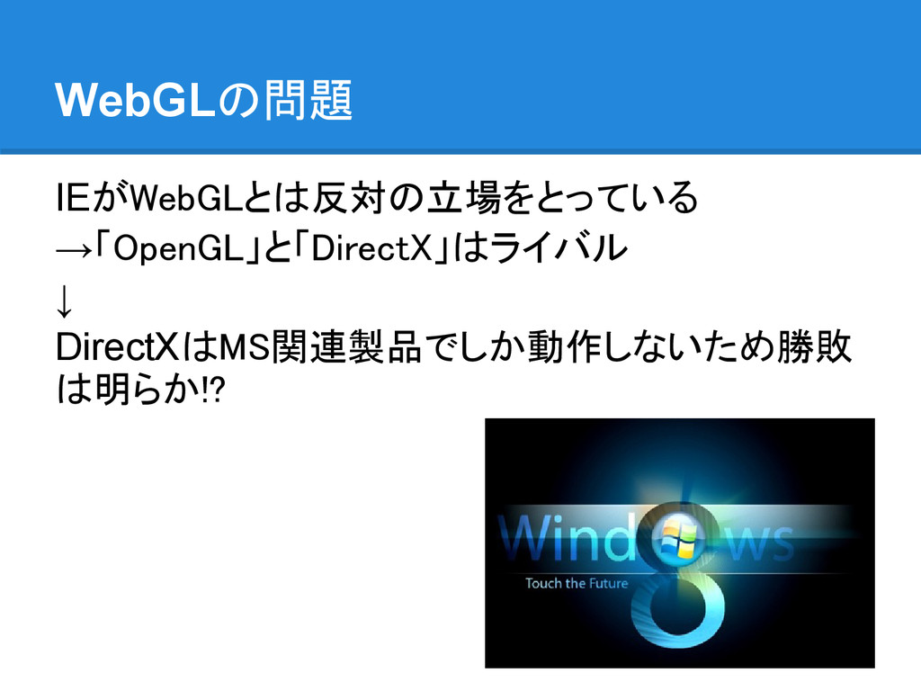 WebGLの問題 IEがWebGLとは反対の立場をとっている →「OpenGL」と「Direc...